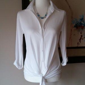 Ann Taylor button down tie front blouse - White XS
